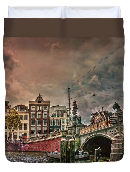 Duvet Cover featuring the photograph Blauwbrug -blue Bridge- by Hanny Heim
