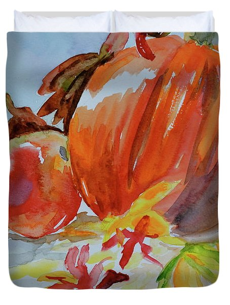 Duvet Cover featuring the painting Blazing Autumn by Beverley Harper Tinsley