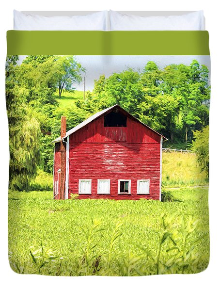 Duvet Cover featuring the photograph Blazing Barn by Anthony Baatz