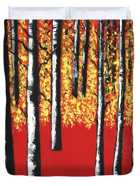 Blazing Birches Duvet Cover