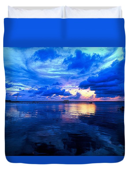 Duvet Cover featuring the photograph Blazing Blue Sunset by Anthony Baatz