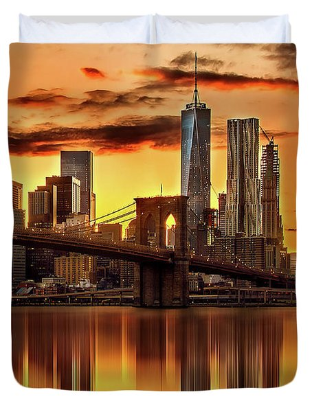 Blazing Manhattan Skyline Duvet Cover