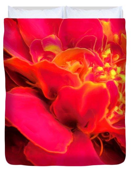 Blazing Pink Marigold Duvet Cover