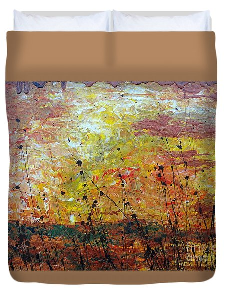 Duvet Cover featuring the painting Blazing Prairie by Jacqueline Athmann