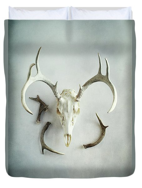 Duvet Cover featuring the photograph Bleached Stag Skull by Stephanie Frey
