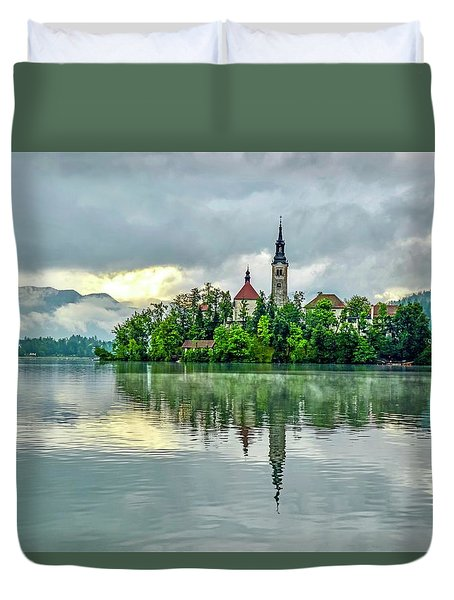 Bled At Sunrise Duvet Cover
