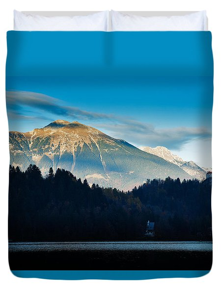 Duvet Cover featuring the photograph Bled Castle by Ian Middleton