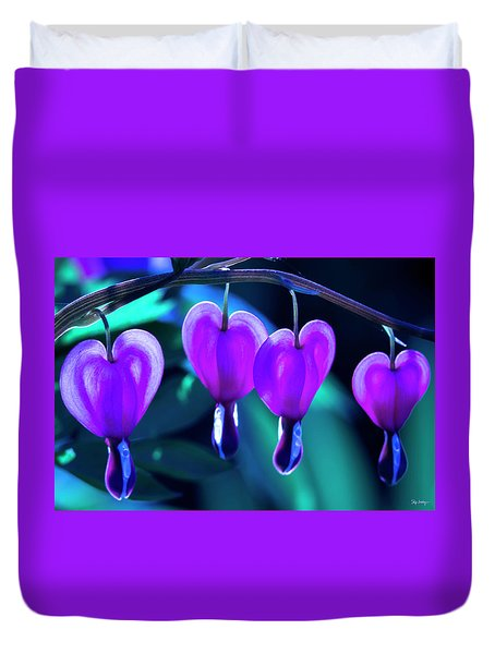 Bleeding Hearts In Moon Light Duvet Cover