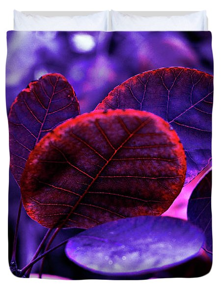 Bleeding Violet Smoke Bush Leaves - Pantone Violet Ec Duvet Cover