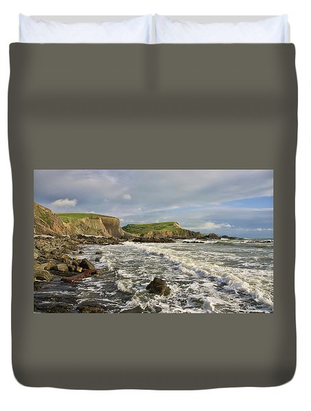 Blegberry Beach In North Devon Duvet Cover