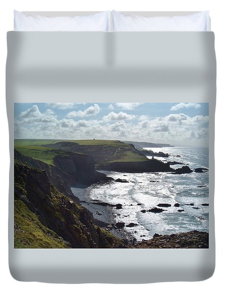 Blegberry Cliffs From Damehole Point Duvet Cover by Richard Brookes