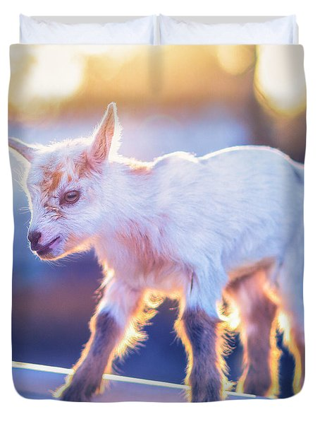 Little Baby Goat Sunset Duvet Cover by TC Morgan
