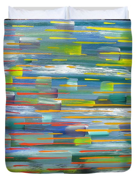 Duvet Cover featuring the painting Blindsided by Jacqueline Athmann