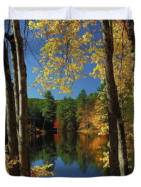 Bliss - New England Fall Landscape Hammock Duvet Cover by Jon Holiday