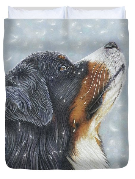 Duvet Cover featuring the painting Blissful Blue  by Donna Mulley