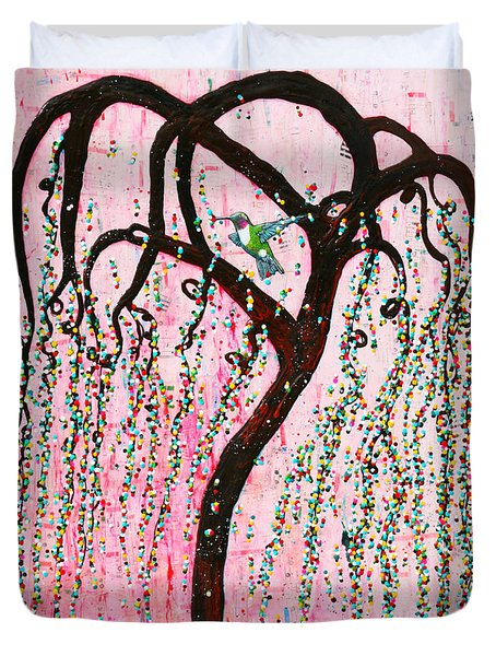 Duvet Cover featuring the mixed media Blissful Melody by Natalie Briney