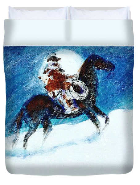 Duvet Cover featuring the painting Blizzard Moon-the Last Stray by Seth Weaver