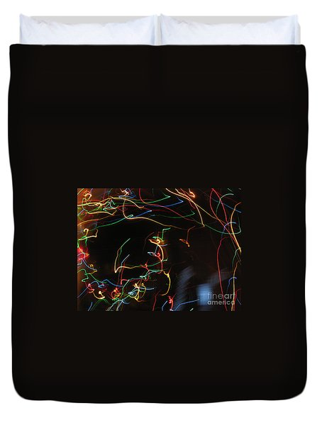 Duvet Cover featuring the photograph Blizzard Of Colorful Lights. Dancing Lights Series by Ausra Huntington nee Paulauskaite