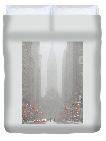 Snow In The City Duvet Cover