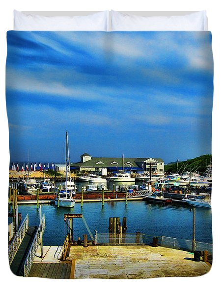 Block Island Marina Duvet Cover by Lourry Legarde