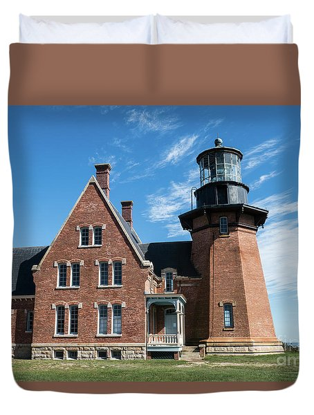 Block Island Southeast Light Historic Lighthouse Duvet Cover