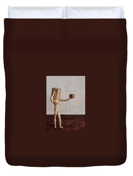 Duvet Cover featuring the photograph Blockhead by Mark Fuller