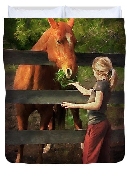 Blond With Horse Duvet Cover
