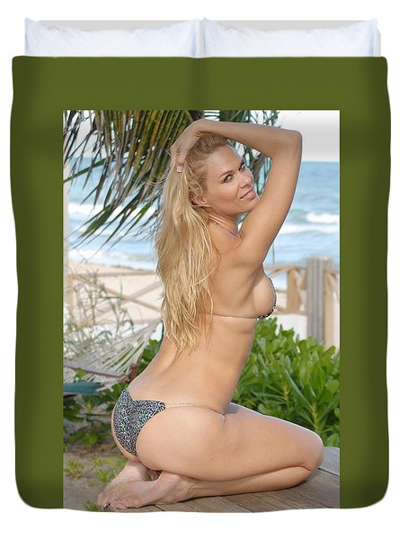 Blonde Beach Babe Duvet Cover