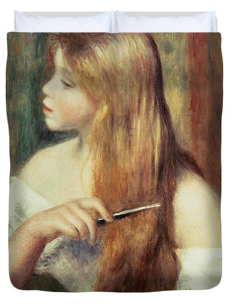 Blonde Girl Combing Her Hair Duvet Cover by Pierre Auguste Renoir