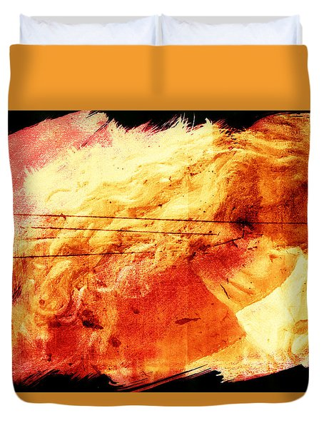 Blonde On Red Fire Duvet Cover