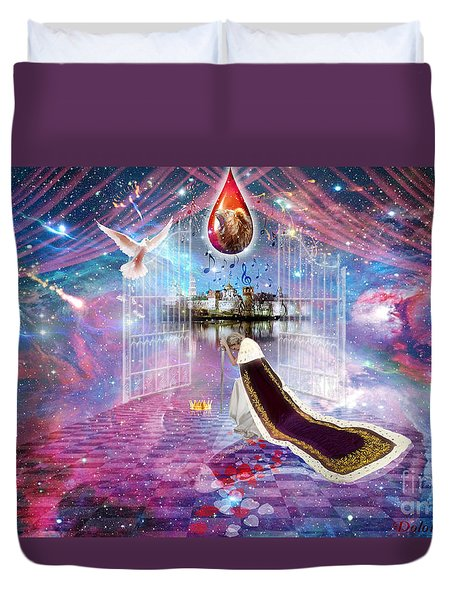 Duvet Cover featuring the digital art Blood Bought by Dolores Develde