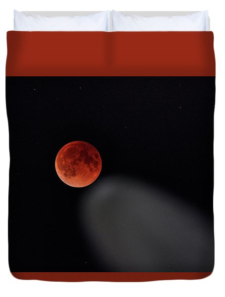 Duvet Cover featuring the photograph Blood Moon Comet by Quality HDR Photography
