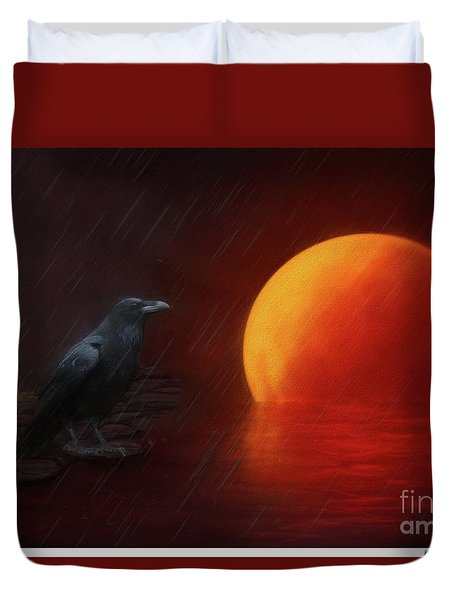 Blood Moon Crow Duvet Cover