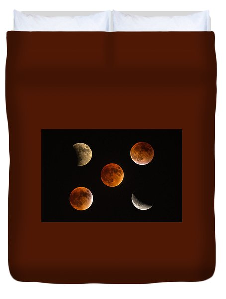 Blood Moon Eclipse Compilation Duvet Cover