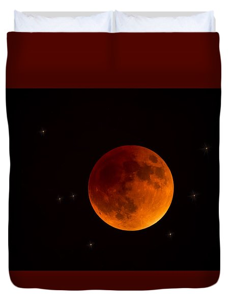 Blood Moon Lunar Eclipse 2015 Duvet Cover by Saija  Lehtonen