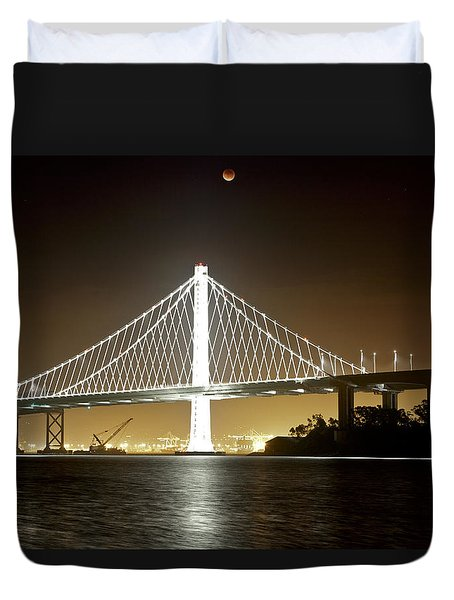Blood Moon Over Bay Bridge Duvet Cover