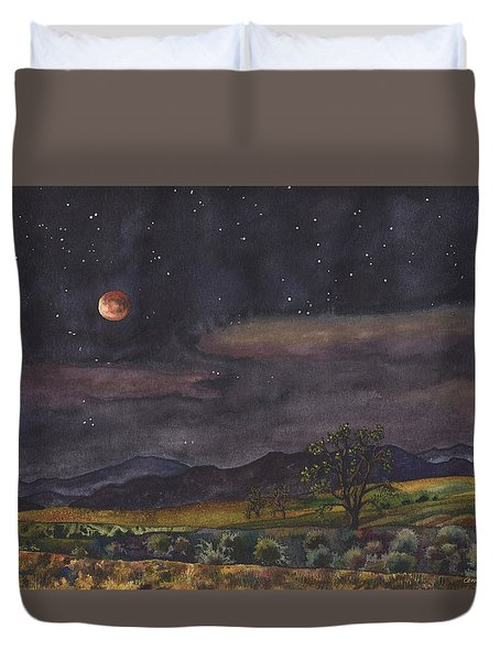 Blood Moon Over Boulder Duvet Cover