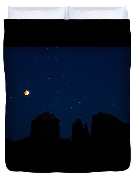 Duvet Cover featuring the photograph Blood Moon Over Cathedral by Tom Kelly