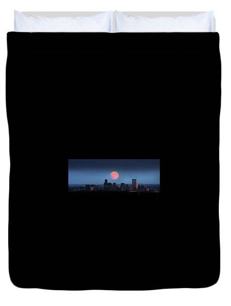Blood Moon Over Denver Duvet Cover
