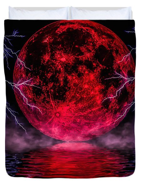 Blood Moon Over Mist Lake Duvet Cover by Naomi Burgess