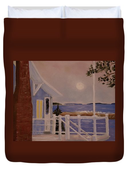 Blood Moon Over Muscongus Sound Duvet Cover