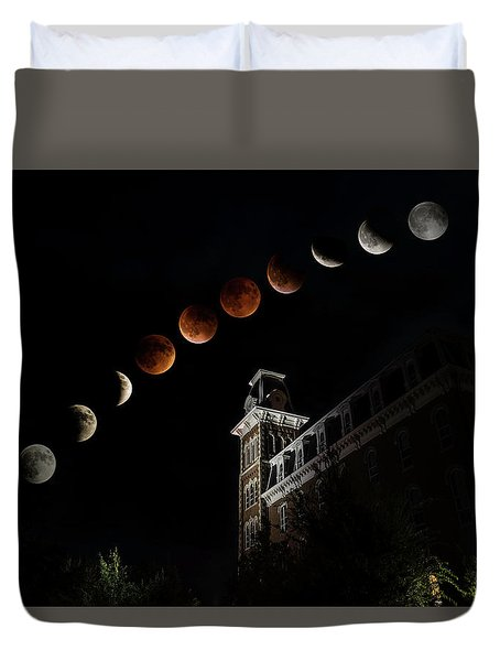 Blood Moon Over Old Main Duvet Cover