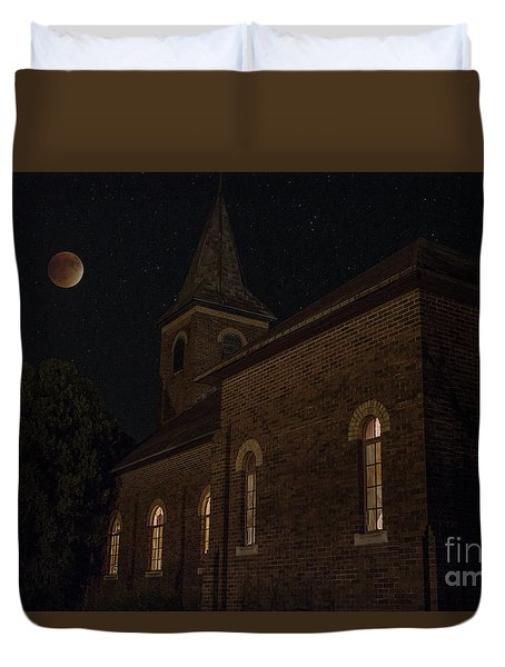 Duvet Cover featuring the photograph Blood Moon Over St. Johns Church by Keith Kapple
