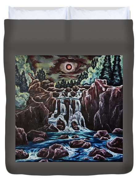 Duvet Cover featuring the painting Blood Moon Rising by Cheryl Pettigrew