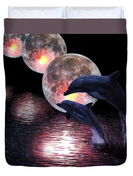 Dolphins In The Moonlight Duvet Cover