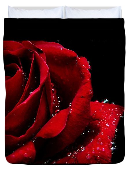 Blood Red Rose Duvet Cover