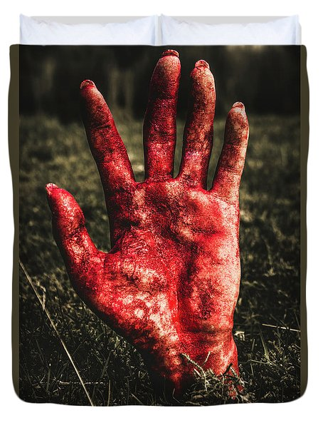 Blood Stained Hand Coming Out Of The Ground At Night Duvet Cover