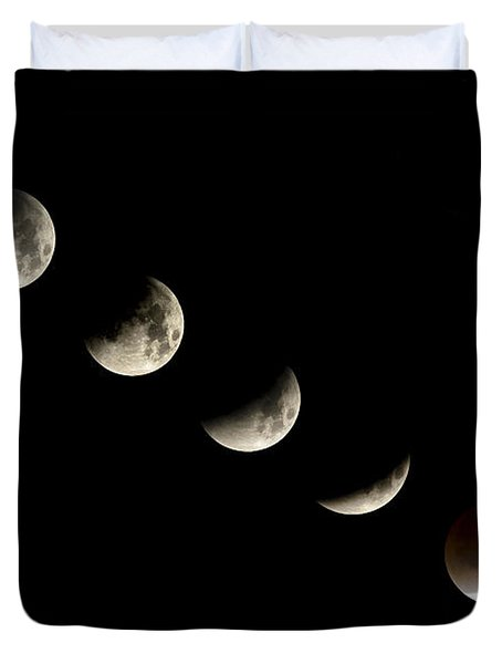 Bloodmoon Lunar Eclipse With  Phases Composite Duvet Cover