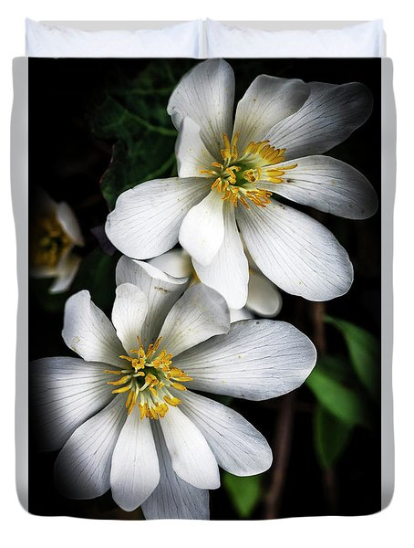 Duvet Cover featuring the photograph Bloodroot In Bloom by Thomas R Fletcher