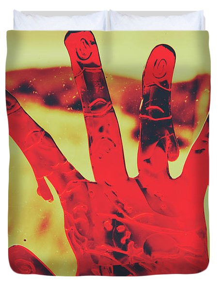 Bloody Halloween Palm Print Duvet Cover